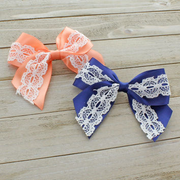 Satin/Lace Tails Down Hair-Bow