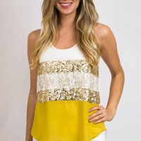 <title>Women's Cream and Yellow Sequin Blouse - Sequin and Lace Blouse</title>