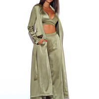 Kaisee Olive Satin Trench with Belt