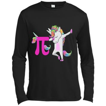 Happy Pi Day Funny Unicorn Dabbing Math  For Girls Long Sleeve Moisture Absorbing Shirt