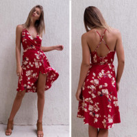 Sexy straps print flower show thin backless dress