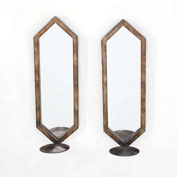 Minimalist Mirrored Wall Candle Holder Sconce Set