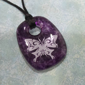 Butterfly Pendant, Purple Pillow Donut Necklace, Fused Glass Jewelry,  - Lesia - 4027 -4