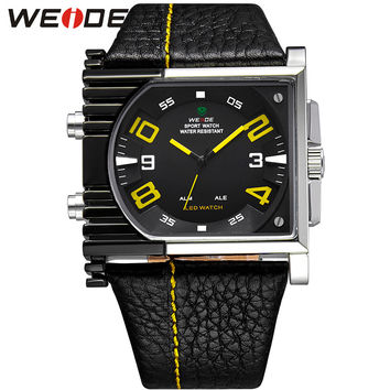 Fashion Men Watches Analog Digital Display Waterproof Back Light Leather Strap Watch