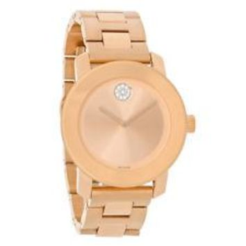 Movado Bold Ladies Crystal Rose Gold Tone Bracelet Swiss Watch 3600086
