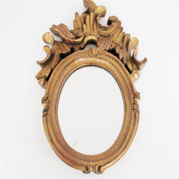 Vintage Mirror Ornate Wooden Mirror Vintage Wall Mirror Carved Wooden Mirror Shabby Chic Gold Mirror Ornate Oval Hanging Mirror Gift