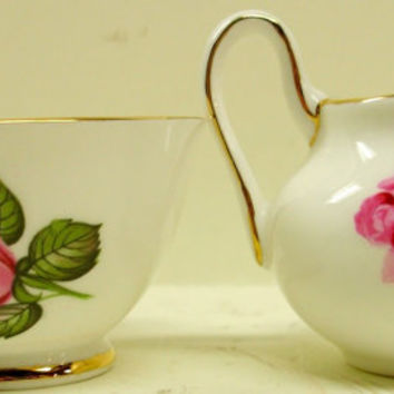 Hudson Staffordshire Delphine Sugar Bowl & Creamer Set English Bone China Pink Rose Pattern