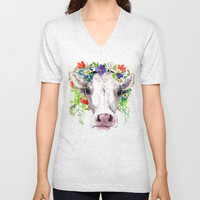 Cow and Flowers, Cow head floral Farm Unisex V-Neck by SurenArt