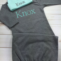 Baby Boy Coming Home Outfit, Personalized Infant Baby Gown and Hat, Monogrammed Baby Boy, Baby Shower Gift, Newborn Pictures, Gray and Mint