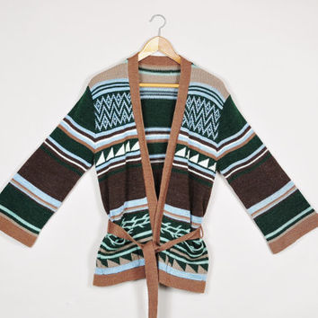 forest green toffee stripe nordic bell sleeves boho hippie knit belted cardigan sweater jumper vintage 1970s