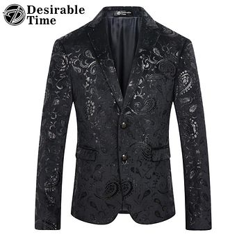 Men Black Sequin Blazer Jacket Slim Fit Fashion Party Stage Men Floral Velvet Blazer