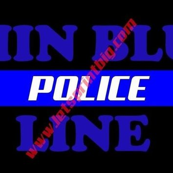 The Thin Blue Line Police Contour Cut Decal Stickers