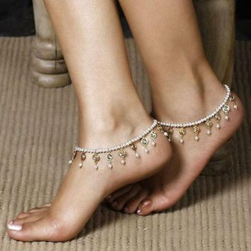 VONE05R New Arrival Cute Ladies Stylish Gift Sexy Jewelry Shiny Accessory Summer Hot Sale Crystal Stretch Anklet [11156945876]