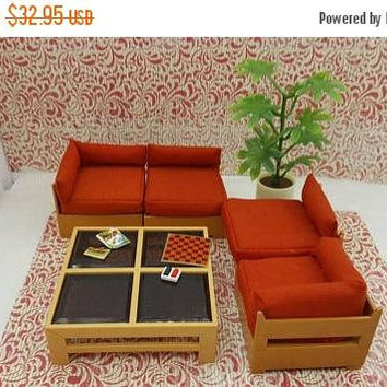 Century sale 30% Tomy Smaller House Living Room Sectional Sofa Plant Coffee  table Checkers Fits 3/4 to 1 inch scale