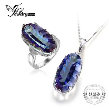 Big Long Natural Rainbow Mystic Topaz Ring Pendant Necklace Jewelry Set 925 Sterling Silver Bridal Brand Fine Jewelry Set