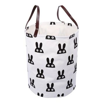 Canvas handbag laundry basket storage bag with Leather Handles for Kids Room Decor