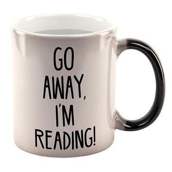 Go Away I'm Reading Books All Over Heat Changing Coffee Mug