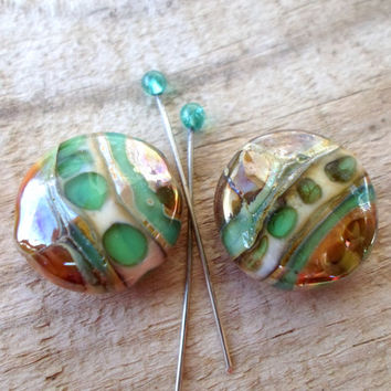 Lampwork Beads, Handmade Glass Beads, Lampwork Jewelry Supplies, Handcrafted Glass Bead Pair for Lampwork Jewelry