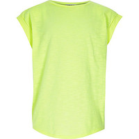 River Island Girls neon green split chiffon back t-shirt