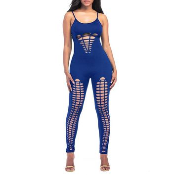 Ava Hollowed Out Bodycon Jumpsuit - Blue