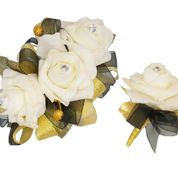 Corsage & Boutonniere Set-Cream Gold Black
