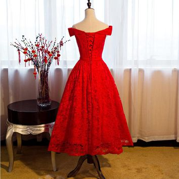 Sweetheart Red Off Shoulder A-line Tea Length Bride Dresses Simple Lace Prom Dress Party Wedding Guest Dresses