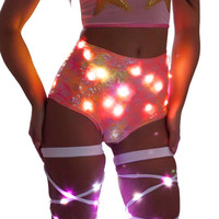 LED Pink/Orange Mermaid High-Waist Rave Booty Shorts