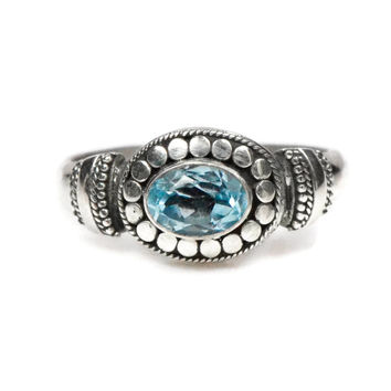 Sterling Silver Sky Blue Topaz Oxidized Beadwork Ring