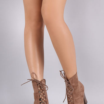 Corseting Laces Chunky Heel Booties