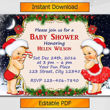 Editable Christmas Baby Shower Invitation, Twin Vintage Boy and Girl Invitation, Instant Download etsy Baby Shower invitation B005