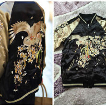 ♥ZARA BLACK GOLD REVERSIBLE ORIENTAL SILK BIRD KIMONO EMBROIDERY BOMBER JACKET M