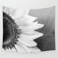 B&W Sunflower Wall Tapestry by Viviana Gonzalez