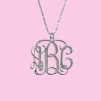 Monogram Initials Necklace 1.25'' Personalized 1-3 Letters Monogrammed Sterling Silver 925 Customized Pendant Custom Made Name Message
