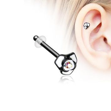 Blackline White Rose Blossom Sparkle Piercing Stud with O-Rings