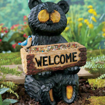 Welcome Statue Bear Woodland Animal Garden Planter Flower Pot Yard Porch