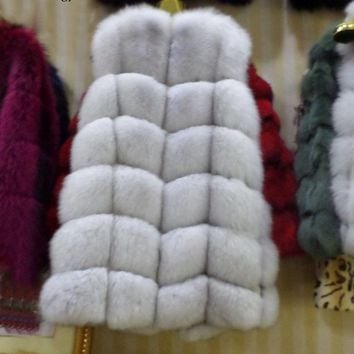winter 2016 natural  real  fox  fur vest    black red   blue  green gray  beige30 colors,real natural fox  fur  coat,real fur