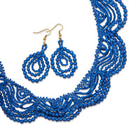 Dark Blue Lace Fashion Necklace and Earring Set