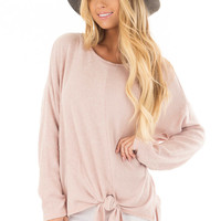 Blush Long Sleeve Top with Front Tie Detail