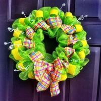Deco Mesh Wreath Summer for Front Door Plaid Ribbon