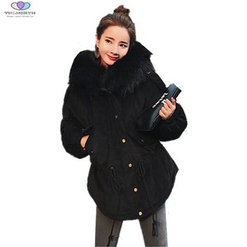 2017 Winter Women Coat Thick Fur Collar Hooded Down Cotton Jacket Thick Warm Corduroy Coat Loose Casual Outerwear TNLNZHYN E252