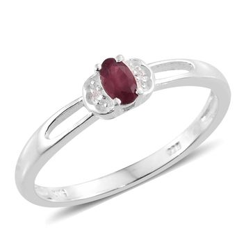 Ruby Sterling Silver Solitaire Ring