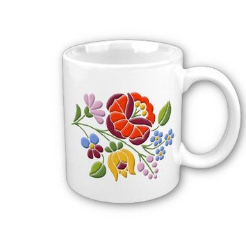 Kalocsa Embroidery - Hungarian Folk Art Coffee Mug from Zazzle.com