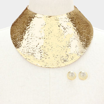 "13.50"" textured choker 4.25"" wide sheet collar necklace bib balmain .75"" earrings"