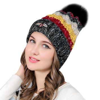 Rainbow Real Fur Pompom Hats For Women Winter Caps 2017 Wool Knitted Warm Pom Pom Hats Gorro  Crochet Beanies Skullies Bonnet
