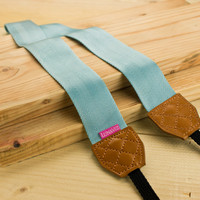 Camera Strap - Shocking Cyan for DSLR and Mirrorless with Brown Tag
