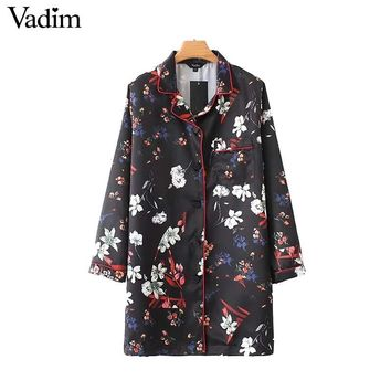 Women vintage floral loose long shirt long sleeve pockets side split blouse ladies chic tops