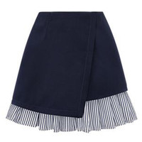 Navy Blue Wrap Stripe Ruffle Hem A-line Skirt