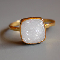 Natural White Druzy Ring  Cushion Square Cut  Stacking