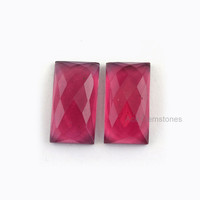 Loose Gemstone Calibrated Cabochon Red Garnet Quartz Faceted Rectangle 11x20mm AAA Grade - 2 Pcs.