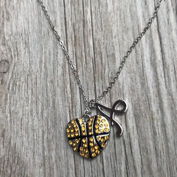 Personalized Basketball Heart Charm Necklace with Letter Charm